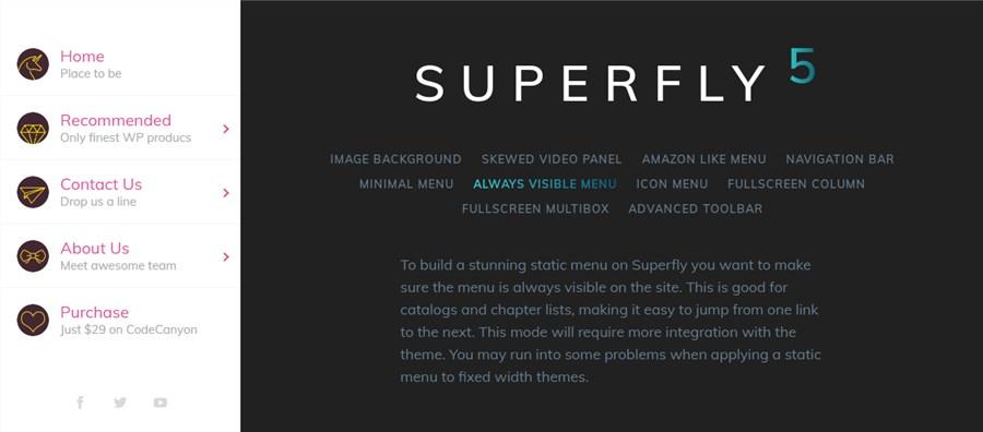 WP Superfly responsive menu plugin