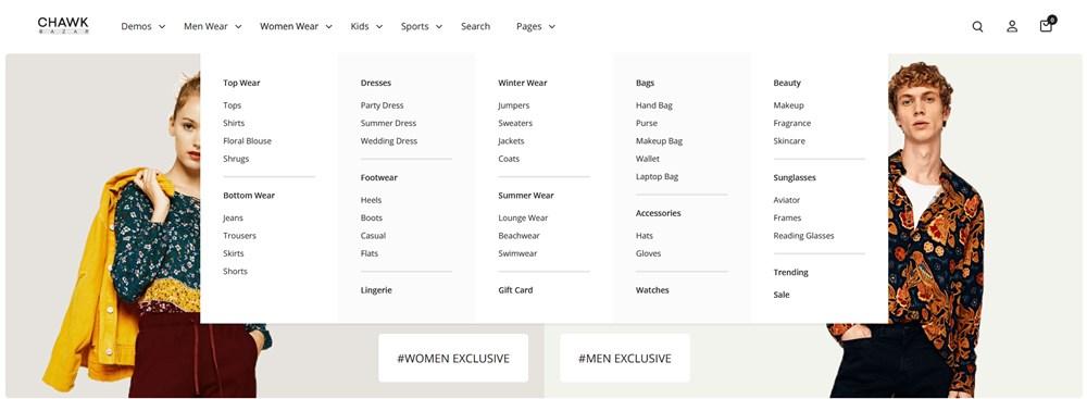 shop mega menu wordpress theme