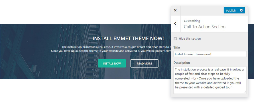 call to action section emmet lite wp theme