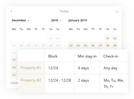 Hotel Booking Template block-rooms-and-dates-selectively