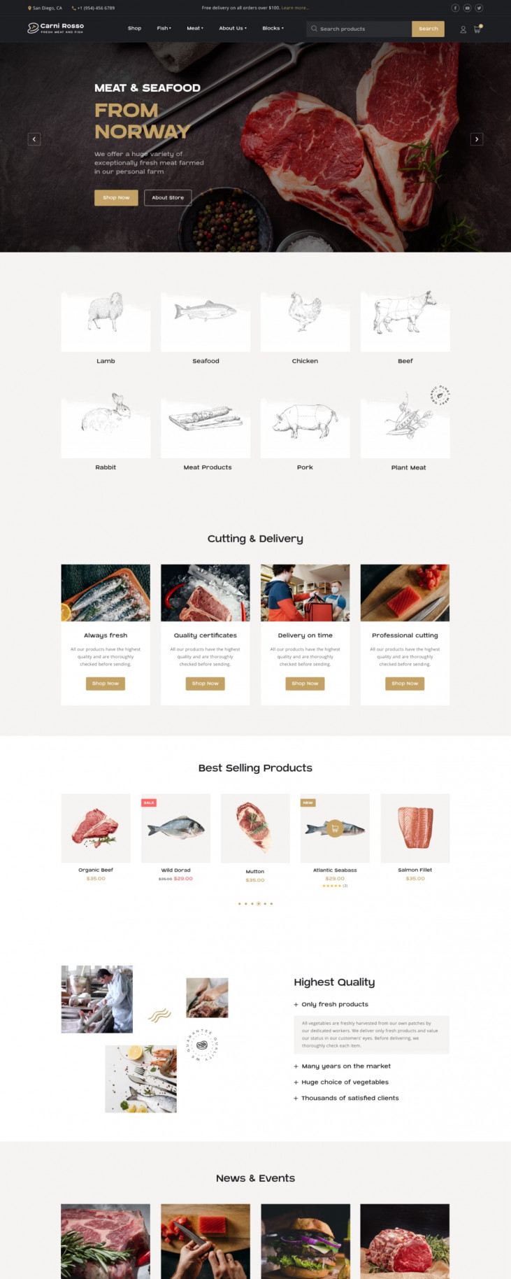 WordPress Fish and Meat Website Template